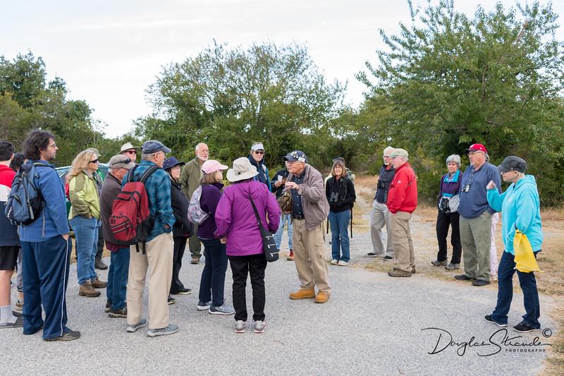 Hiking group gets ready at Fisherman Island