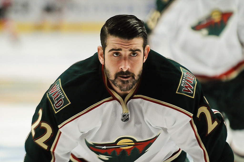 . Minnesota Wild right wing Cal Clutterbuck during warm-ups before the game. (Pioneer Press: Ben Garvin)