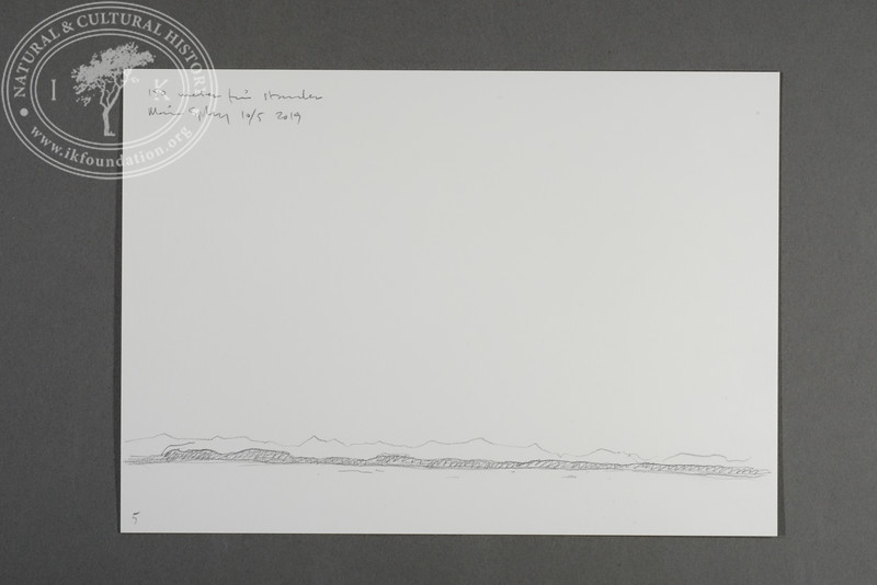 """Prins Karls Forland drawn from the zodiac at 150 meters west of the beach at Levinhamna   10.5.2019   """"I want to convey what I see with immediacy and simplicity to make the viewer feel present on the Arctic scene.""""   Måns Sjöberg"""
