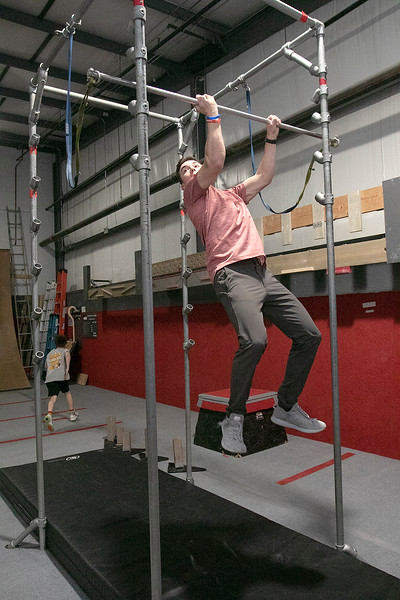 Jonathan Godbout, 15, from Sterling showed off some of the  obstacles he trains on at Ultimate Obstacles in West Boylston on Wednesday, Feb. 27, 2020. This obstacle is called the salmon ladder. SENTINEL & ENTERPRISE/JOHN LOVE