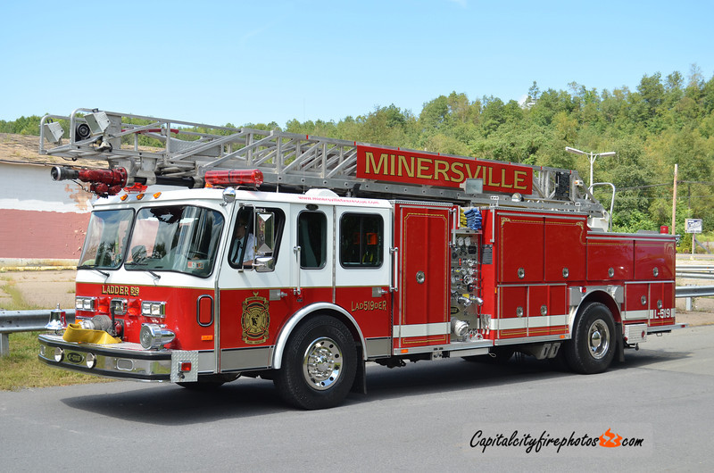 Minersville (Minersville Fire Rescue) X-Ladder 519: 1992 E-One 1500/500 75' (Pottsville, PA) (** Apparatus is currently for sale as of Sept 2014 **)