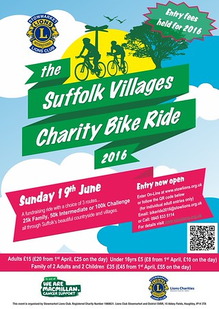 Suffolk Villages Charity Cycle Ride Sunday 19th June 2016