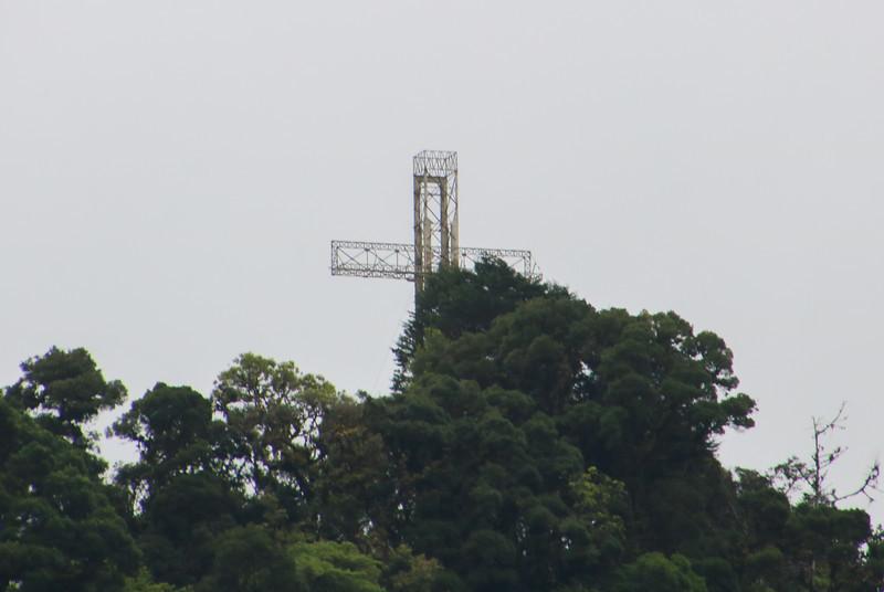 Aerial view of the Cruz de Alajuelita and Pico Blanco in Escazu, Costa Rica