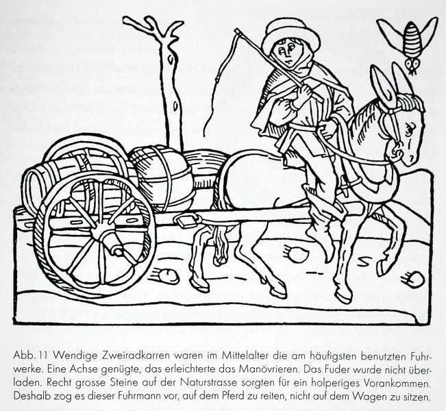 Der Zweiradkarren als wendiges Verkehrsmittel während Jahrhunderten. Der schlechten Strasse halber ist der Fuhrmann zu Pferd.