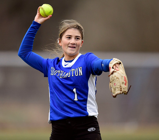 4/9/2019 Mike Orazzi | Staff Southington's Julia Panarella (1) during Tuesday's softball game in Bristol.