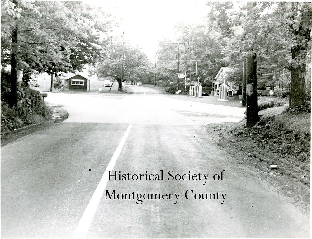 . This photo from the Historical Society of Montgomery County shows Schrack\'s Corner, located at Egypt and Trooper roads, in 1950.