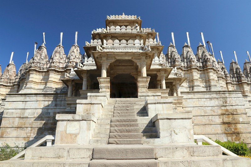 This spectacular temple is covered with delicate lace-like carvings and geometric patterns and took more than fifty years to build. - Ranakpur Jain Temple