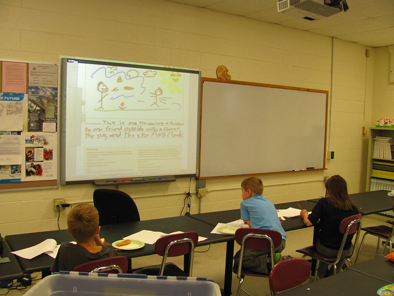 Daniel and Curtis went through the worksheets on the smart-board.