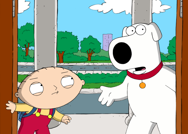 """. Brian and Stewie travel back in time to the pilot episode of FAMILY GUY to change history, and then to change history again, in the \""""Back to the Pilot\"""" episode of FAMILY GUY.   (2011/Fox)"""