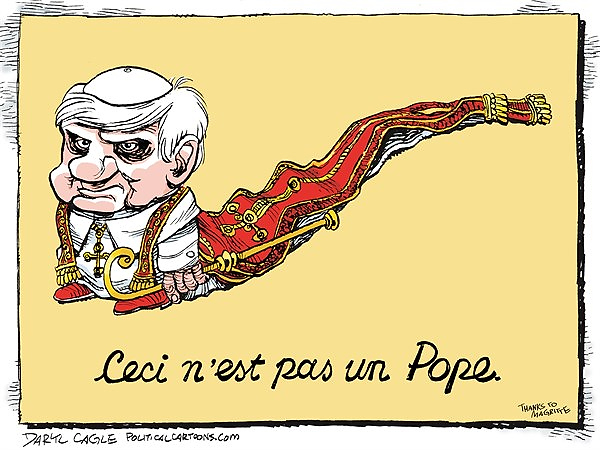 . Daryl Cagle / politicalcartoons.com Translation: Popes through the looking glass