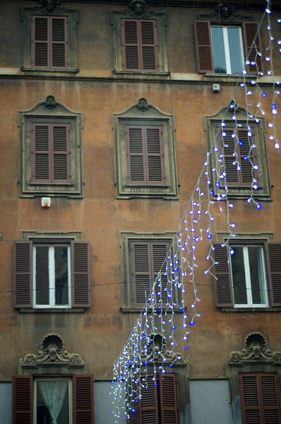 Apartment Building & Christmas Lights - Rome, Italy