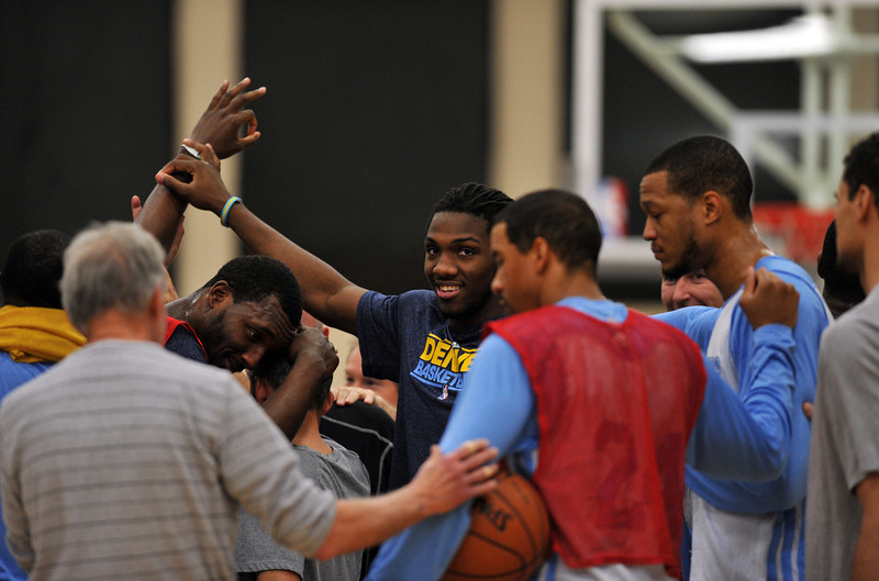 . Denver Nuggets players huddle after the team practice for the 1st round of playoff game against Golden State Warriors at Pepsi Center. Denver. Denver, Colorado. April 19, 2013. (Photo By Hyoung Chang/The Denver Post)