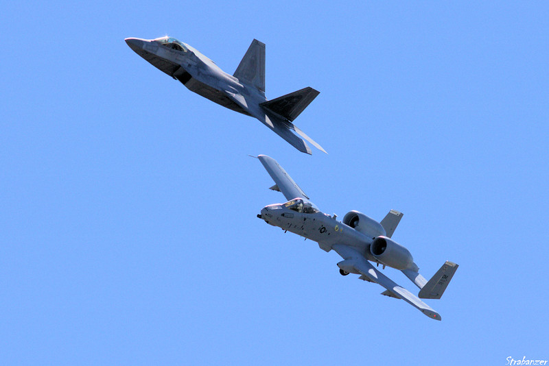"""USAF F-22 Raptor & A-10 Fairchild Republic A-10 Thunderbolt II """"Warthog"""" Rome GA 10/12/2018 This work is licensed under a Creative Commons Attribution- NonCommercial 4.0 International License."""