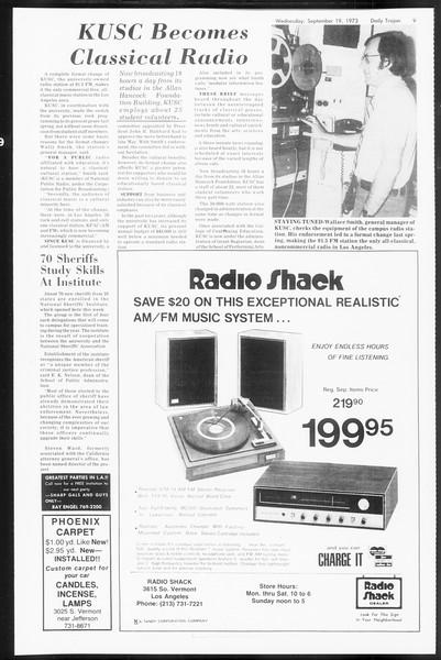 Daily Trojan, Vol. 66, No. 3, September 19, 1973