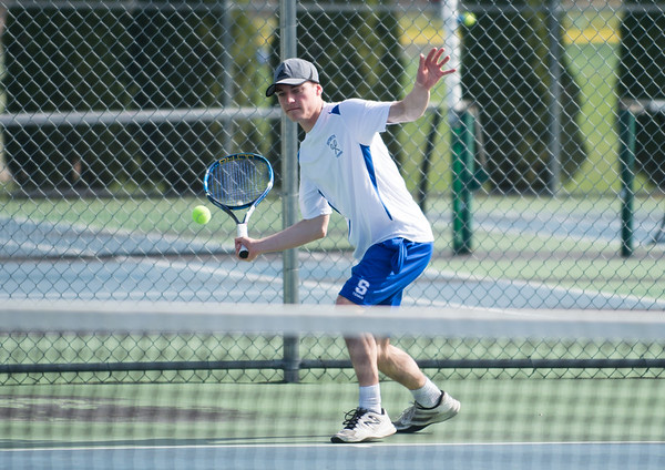 04/17/19 Wesley Bunnell | Staff Southington boys tennis hosted Berlin on Wednesday afternoon at Southington High School. Southington's Marek Kryzanski.