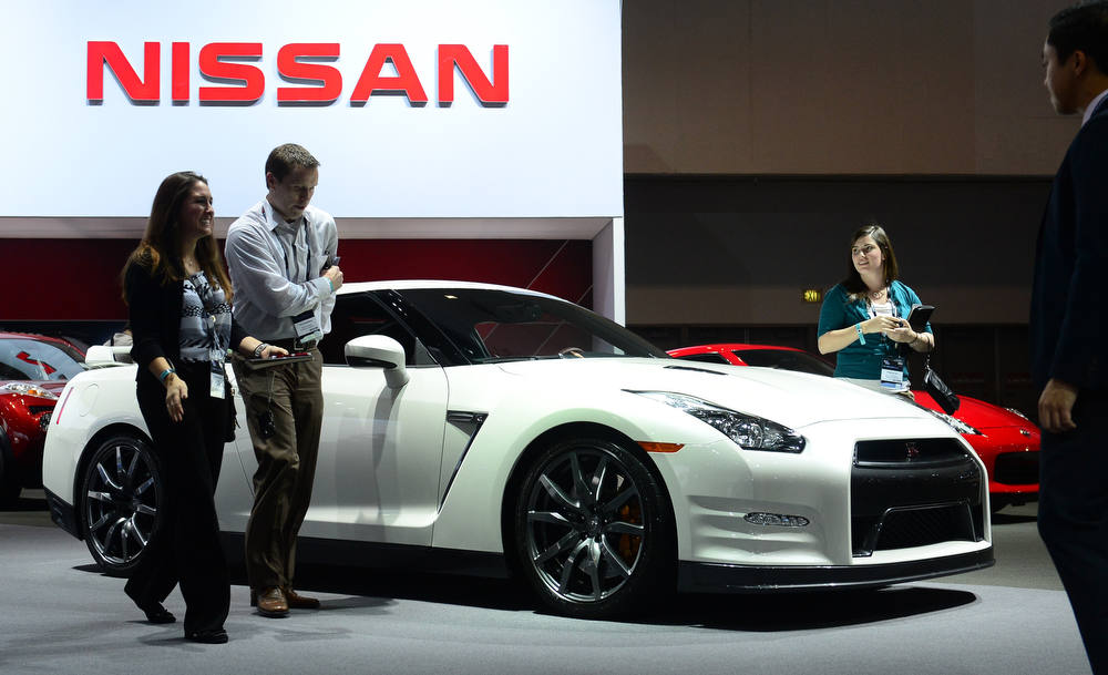 Description of . The Nissan GTR is displayed on media preview day at the Los Angeles Auto Show on November 28, 2012 in Los Angeles, California. The show opens to the public from November 30 to December 9. AFP PHOTO / Frederic J. BROWN/AFP/Getty Images
