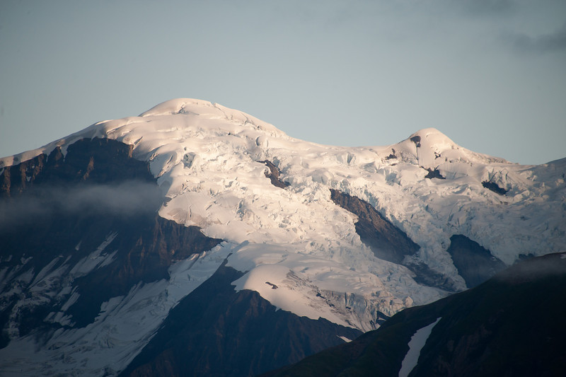 Snow movement on the nearby mountain tops.