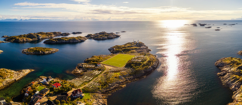 Football field in Henningsvaer from above
