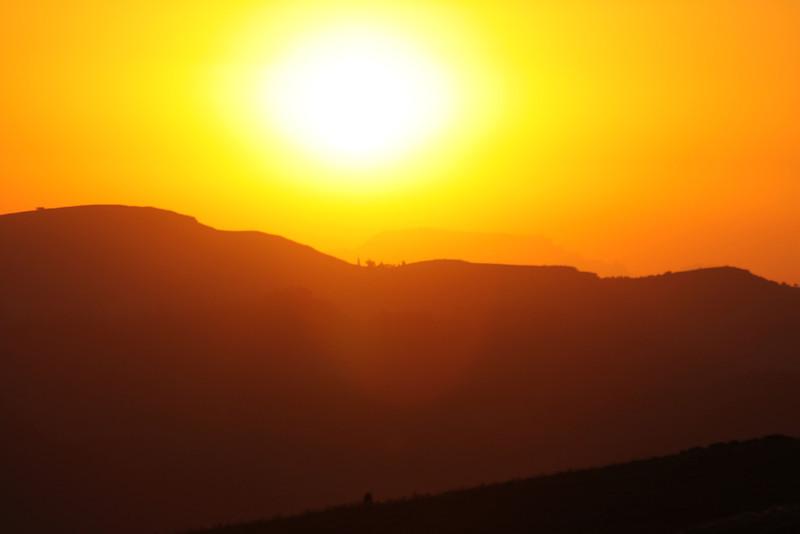 sunset over Simien Mountains near South Sudan border