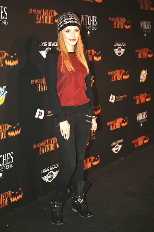 . Bella Thorne at the 5th Annual Los Angeles Haunted Hayride Premiere Night on October 10, 2013.  The fifth year anniversary of the Los Angeles Haunted Hayride took Hayriders through scenes of actual hauntings.  The month-long event will once again take place in Griffith Park�s Old Zoo area, which has been home to murder, torture, paranormal activity, serial killers, and abduction. (Photos by Boris Issaei for the Los Angeles Daily News)