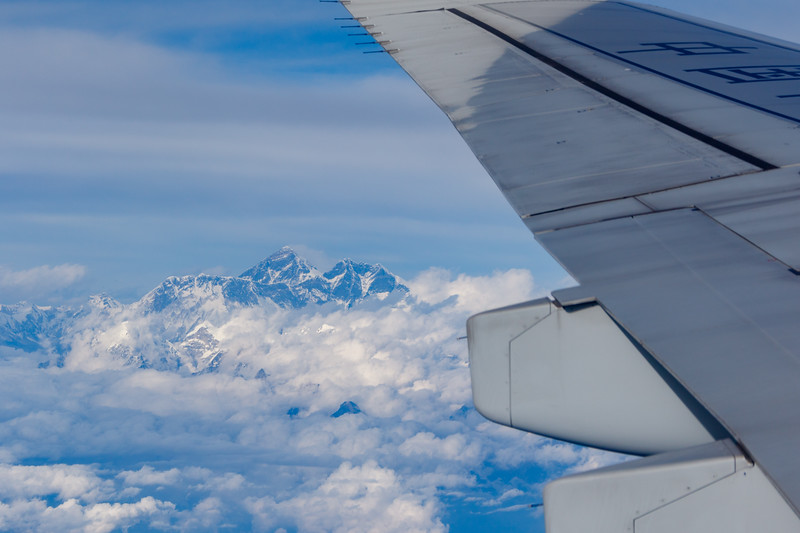 Aerial view of Mount Everest in Nepal from the window seat of a Commercial airliner