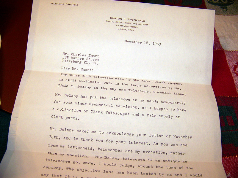 Letter states prior instrument was owned by Edwin F Delany and was advertised for sale in Sky & Telescope in the November 1963 issue.