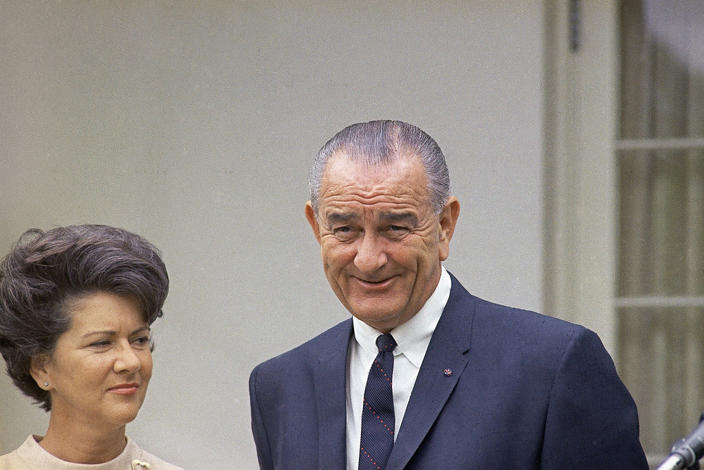 . 1967: Lyndon B. Johnson. President Lyndon B. Johnson during swearing-in of Alexander Trowbridge as Secretary of Commerce at the White House in Washington on June 16, 1967. At left is Mrs. Lady Bird Johnson. (AP Photo/Charles Tasnadi)