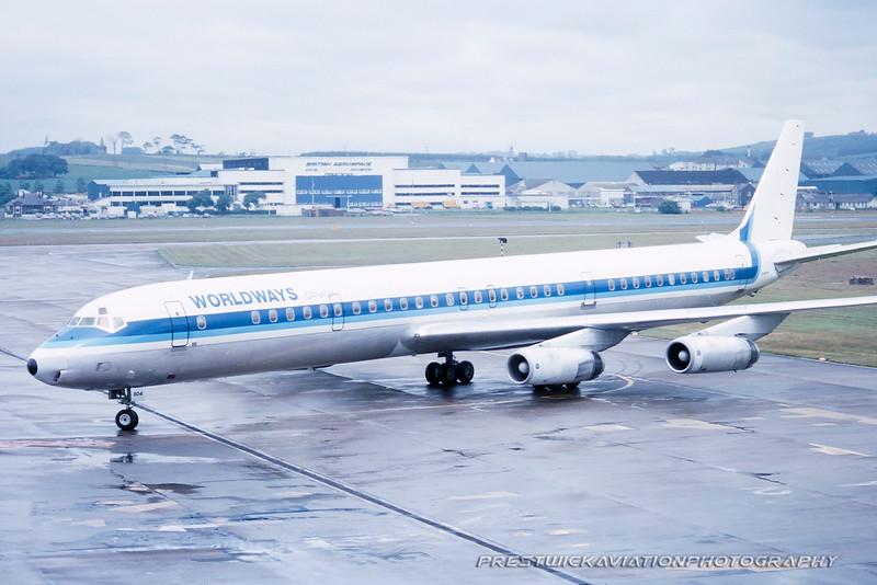 C-FCPS. Douglas DC-8-63. Worldways. Prestwick. 1980`s.
