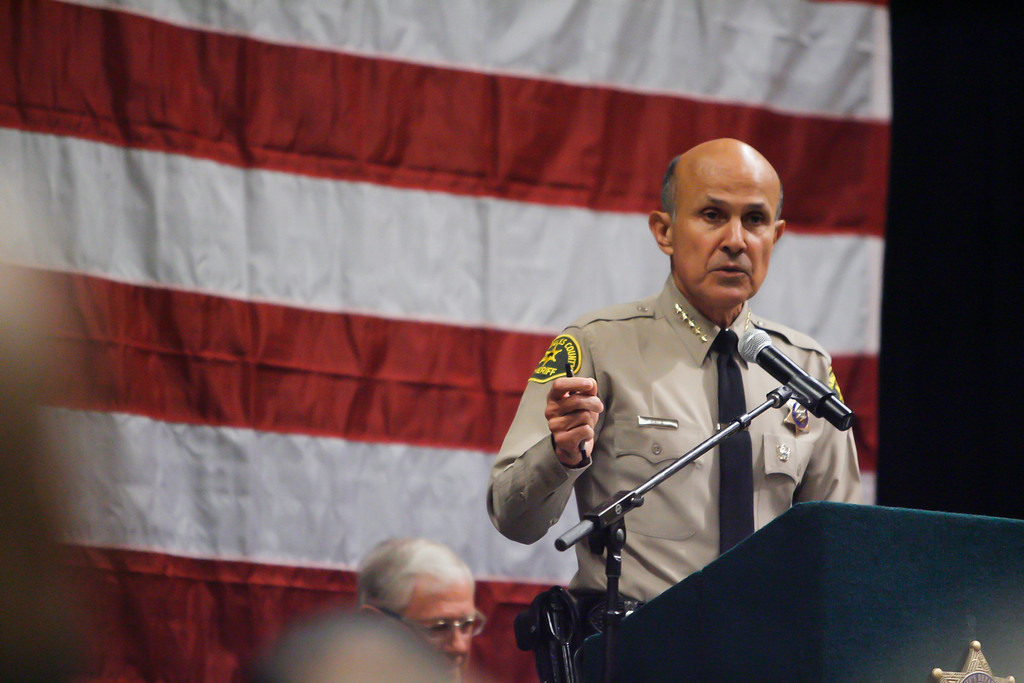 . Los Angeles County Sheriff Leroy Baca speaks after being sworn into office at Our Lady of the Angels in Los Angeles Monday. 12/20/2010. Photo by David Crane/Los Angeles Daily News