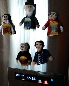 Todd's Thanksgiving present: famous finger puppets.