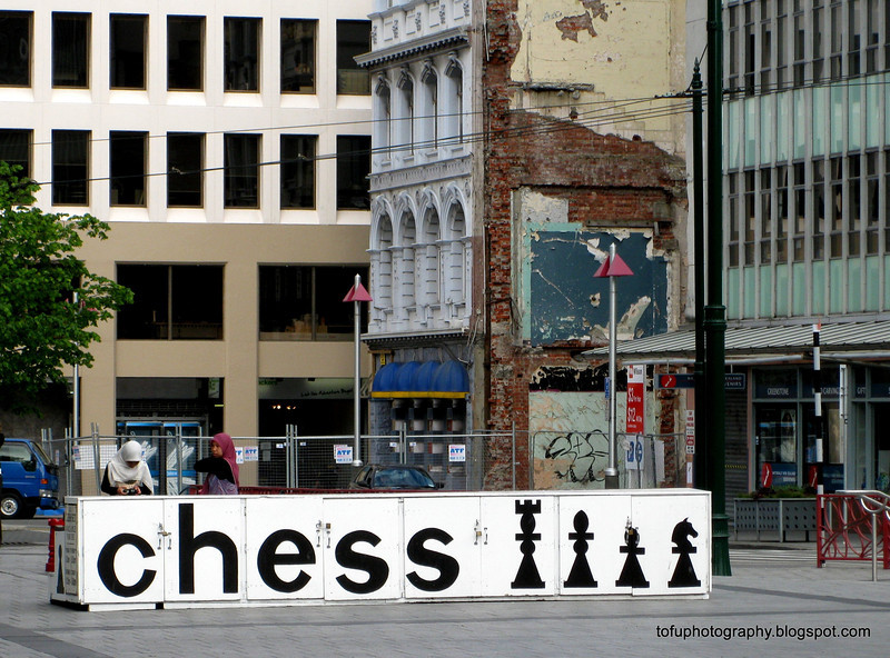 Chess board sign in Christchurch, New Zealand in November 2010