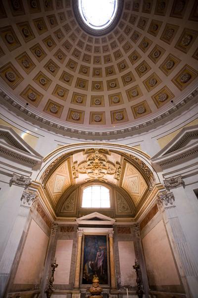 Dome and chapel in the vestibule of Santa Maria degli Angeli e dei Martiri basilica, Rome