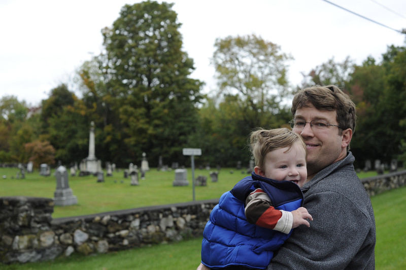 Jack with Dad at Center Shaftsbury Cemetery