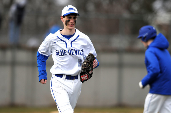 4/5/2018 Mike Orazzi   Staff Plainville's Tyler Mandeville (8) Thursday afternoon in Plainville.