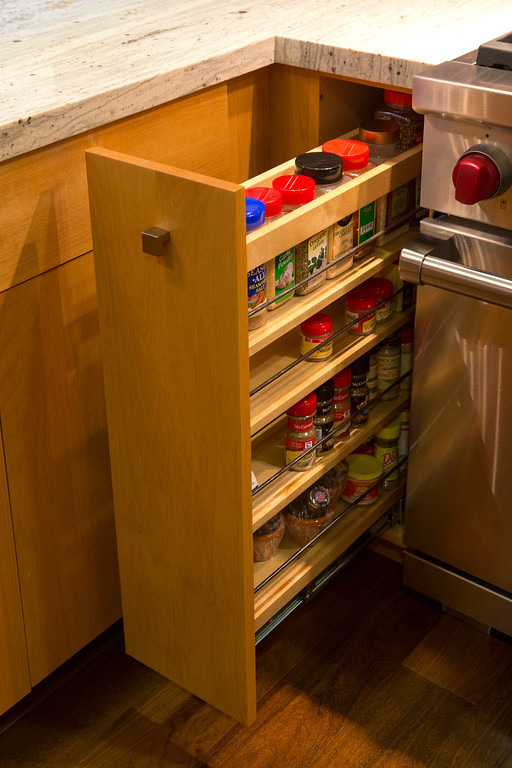 . A spice rack in one of the alder cabinets in the kitchen of Madhu Charan, in San Mateo, Calif., on Tuesday, Jan. 29, 2013.  (John Green/Staff)
