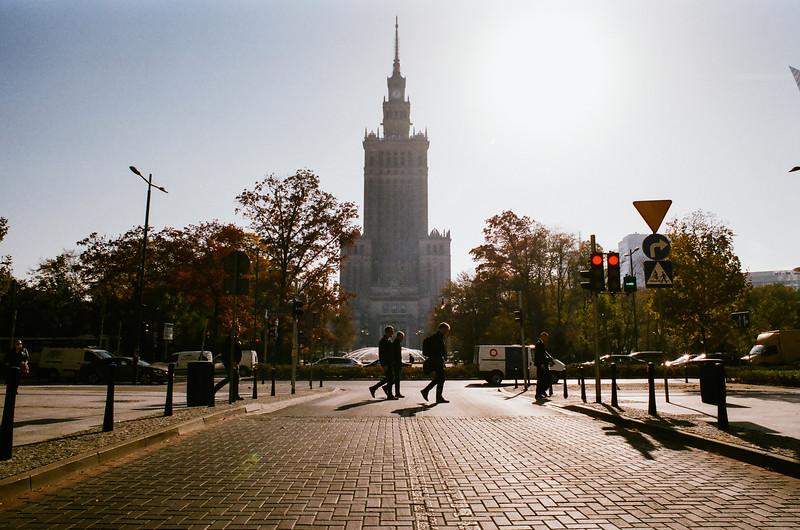 warsaw analog NIKON FM2 Fujifilm Superia 400 street palace culture people walking wide sunny.jpg