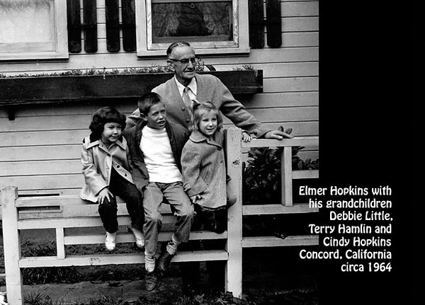 Elmer Hopkins and his grandchildren Cindy Hopkins, Terry Hamlin and Debbie Little, probably in Concord, California in about 1964.