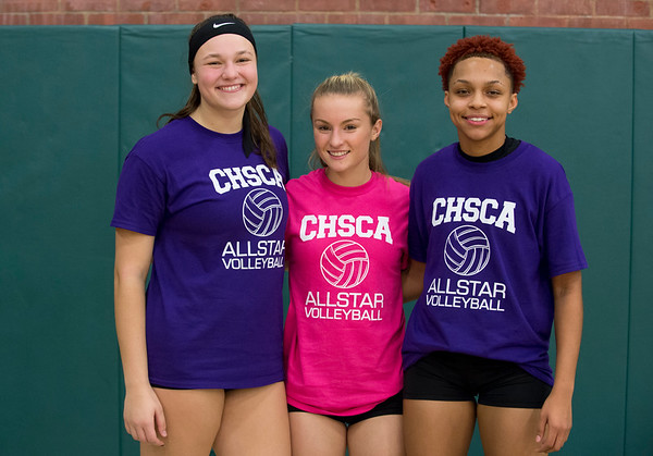 11/25/19 Wesley Bunnell | StaffrrThe CT Senior Alll-Stars Girls Volley Ball Game was held at Maloney High School on Monday night featuring three local players Kathryn Ross from Bristol Central, L, Rebecca Bender from Bristol Eastern and Raven Jarrett from New Britain.