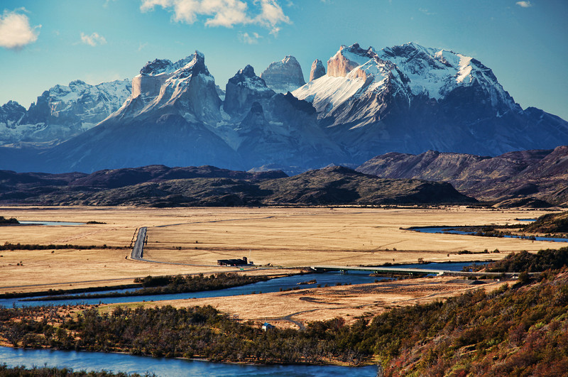 Rio Serrano and Torres del Paine National Park, Chile.(HDR)