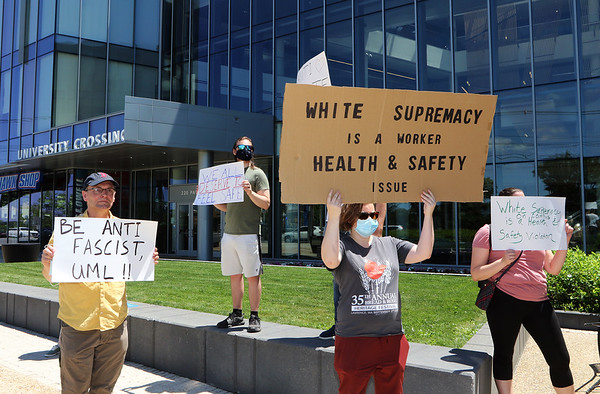 Protest at UML re alleged white supremacist 062421