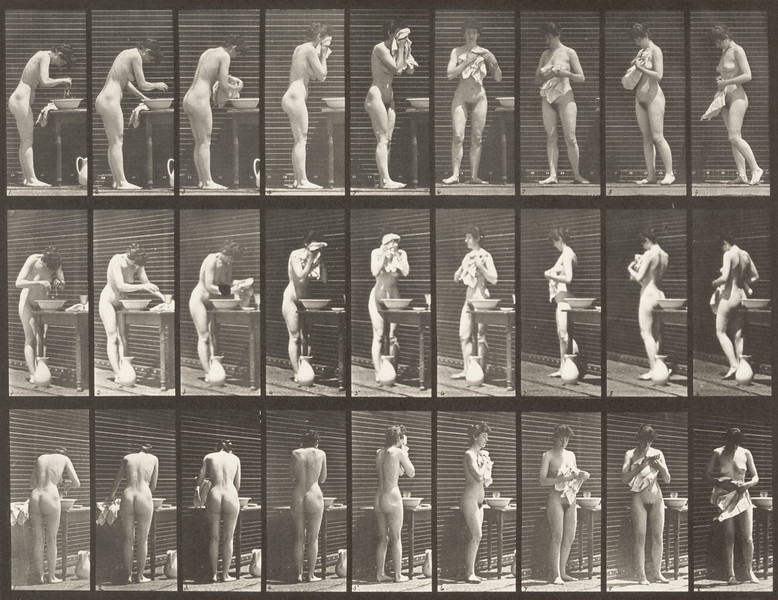 Nude woman washing face (Animal Locomotion, 1887, plate 412)