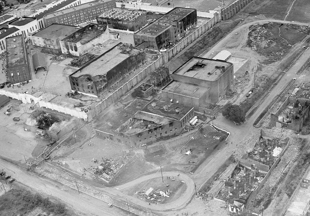 . This July 29, 1973 black and white file photo, shows an aerial view of McAlester State Prison in McAelester, Okla. It shows many of the fire-gutted buildings of the riot-torn institution. The OSP had 2,200 inmates at the time, twice its capacity. The prison was eventually rebuilt as a maximum security prison. Today, the prison houses only about 575 prisoners, including 52 who are currently housed at the prison\'s death row. (AP Photo/Staff, File)