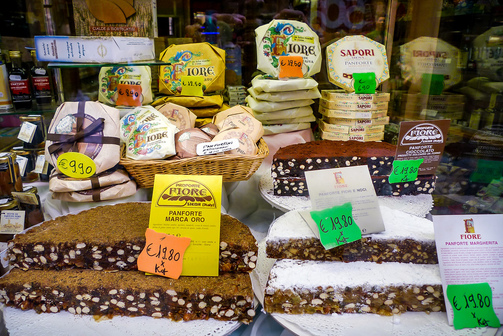 Panforte in a shop window