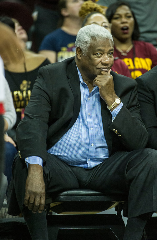 . NBA great and Hall of Fame member Oscar Robertson watches the Cleveland Cavaliers play the Toronto Raptors during the second half of an NBA basketball game in Cleveland, Tuesday, Nov. 15, 2016. The Cavaliers won 121-117. (AP Photo/Phil Long)