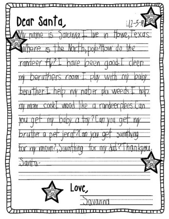 Ms. Johnston's First Grade Letters to Santa, 12/11/2019