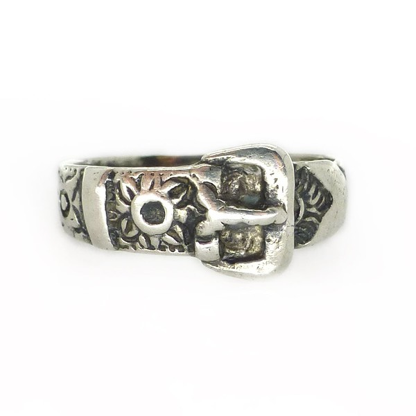 ANTIQUE VICTORIAN SILVER FLORAL BUCKLE PINKY RING