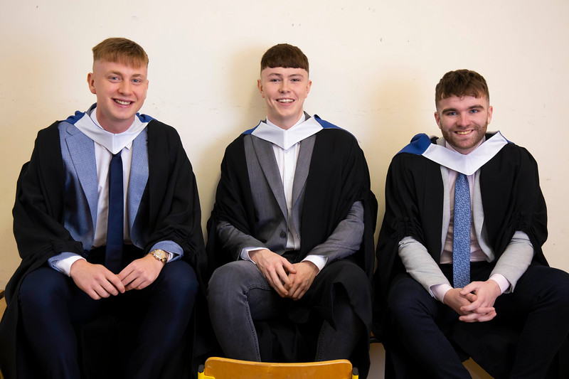 30/10/2019. Waterford Institute of Technology (WIT) Conferring Ceremonies are Craig Dunphy Waterford, Adam Quirke Youghal and Shane Mcgrath Wexford . Picture: Patrick Browne