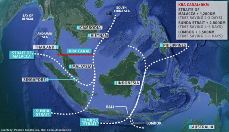 Thai Canal Southeast Asia Map