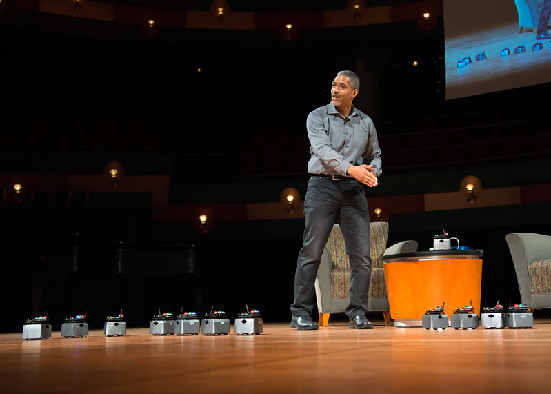 On Wednesday. Oct. 18 during the Fall Distinguished Speaker Series, Senior Hardware Engineer at Google, Dr. James McLurkin provided a demonstrating of when a swarm of robots could be used.  Click the link to view pictures from the event: http://smu.gs/2zDqhLr