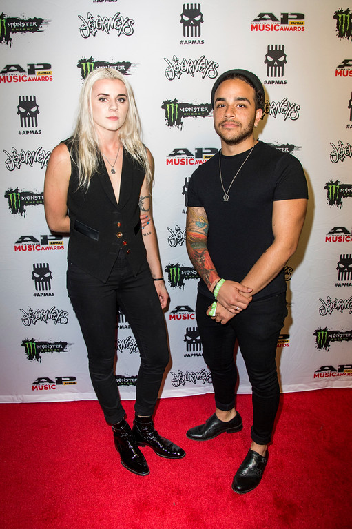 . Lyndsey Gunnulfsen, left, and Brian Macdonald of PVRIS seen at 2017 Alternative Press Music Awards at the KeyBank State Theatre on Monday, July 17, 2017, in Cleveland. (Photo by Amy Harris/Invision/AP)
